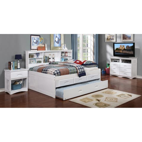 Full Bookcase Daybed with 3 Drawer Storage & Twin Trundle