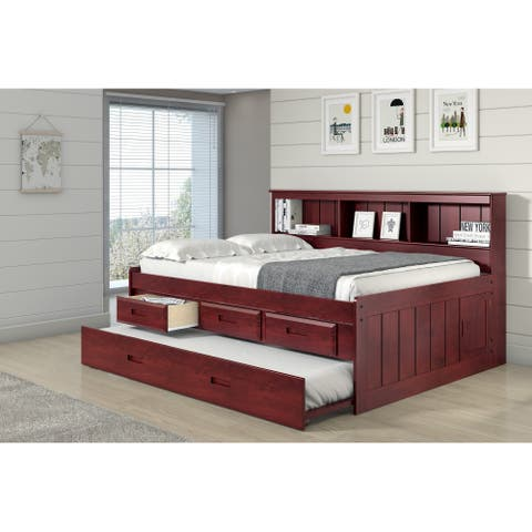 Full Bookcase Captains Daybed with 3 Drawer Storage & Twin Trundle