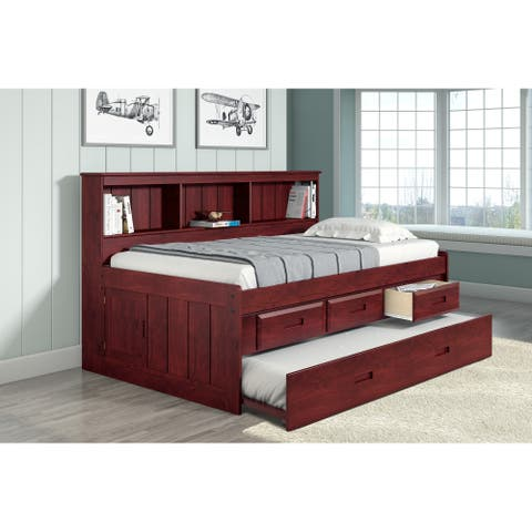 Twin Bookcase Captains Daybed with 3 Drawer Storage & Twin Trundle