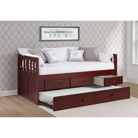 Twin Mission Captains Bed with 3 Drawer Storage & Twin Trundle