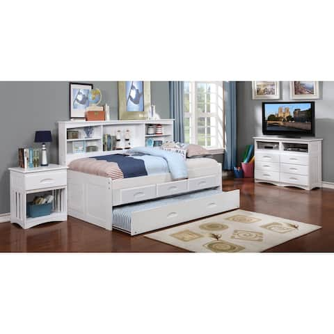 Twin Bookcase Daybed with 3 Drawer Storage & Twin Trundle