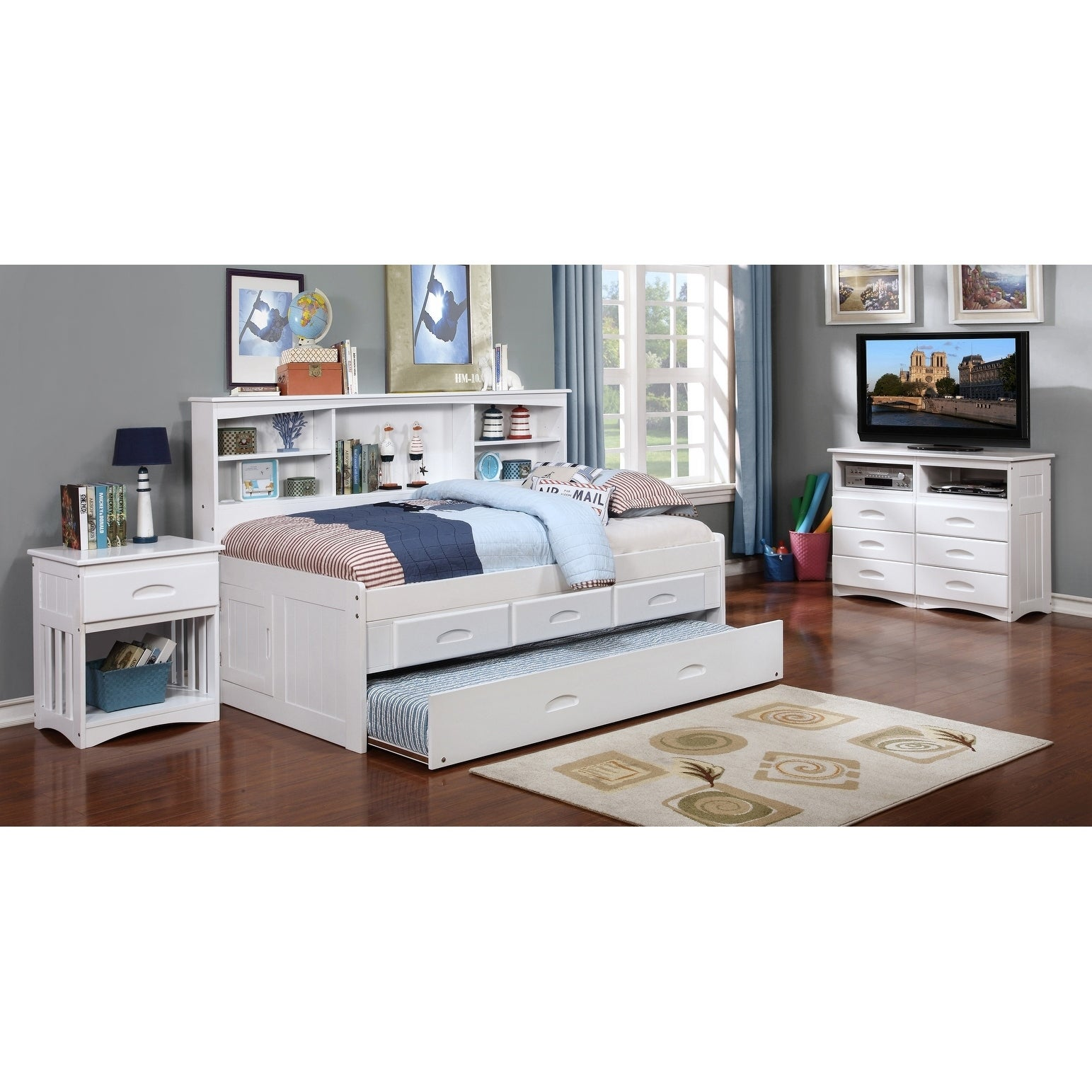 Twin Bookcase Daybed With 3 Drawer Storage Twin Trundle