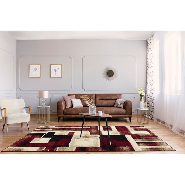 Porch & Den Kimy Red/ Neutral Geometric Graphic Area Rug. Opens flyout.
