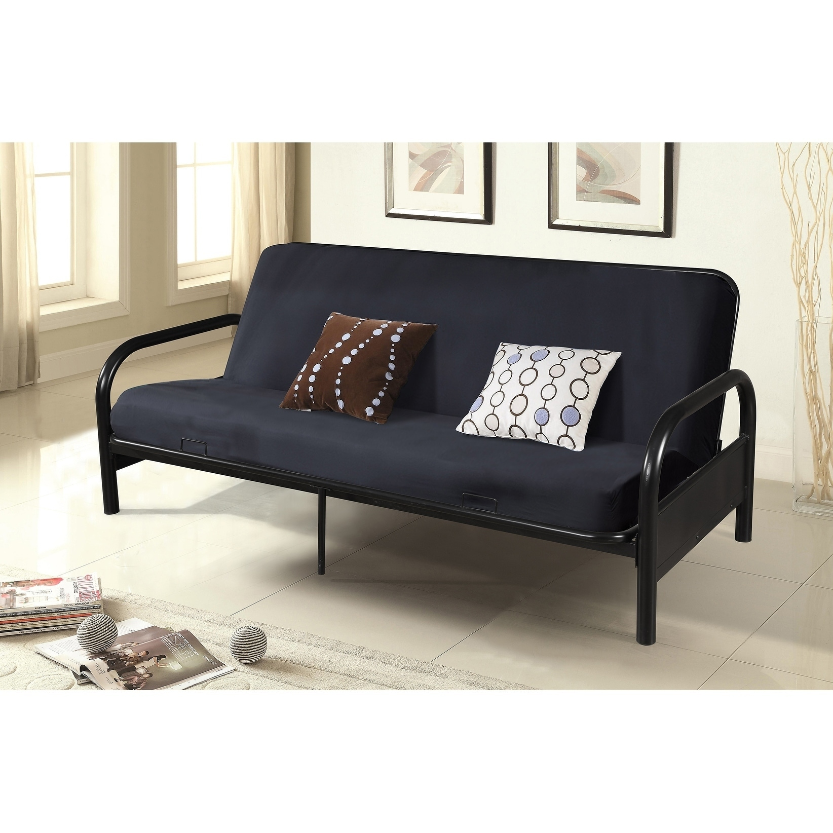 Black Bi Fold Full Size Futon With