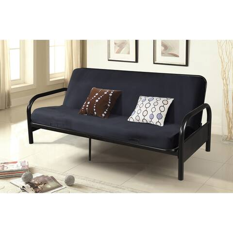 """Black Bi-Fold Full Size Futon with 29"""" High Curved Arms"""