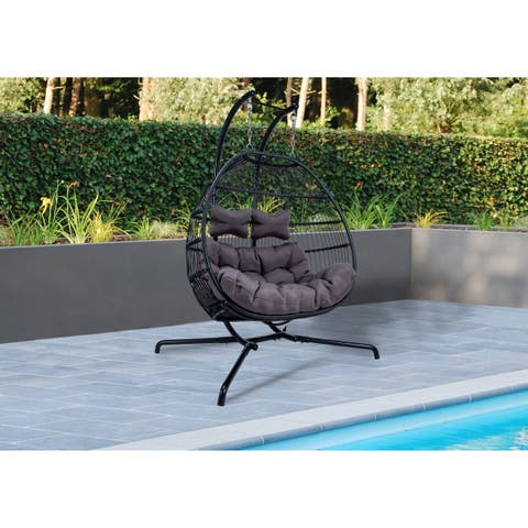 LeisureMod Wicker Folding Hanging 2 person Egg Swing Chair - N/A