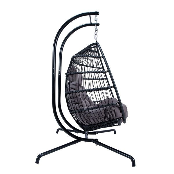 Incredible Shop Leisuremod Wicker Folding Hanging 2 Person Egg Swing Andrewgaddart Wooden Chair Designs For Living Room Andrewgaddartcom