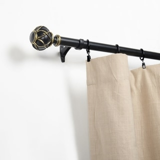 Link to Miranda Haus Obelisk Black/Gold Iron and Resin Expandable Curtain Rod Similar Items in Window Treatments