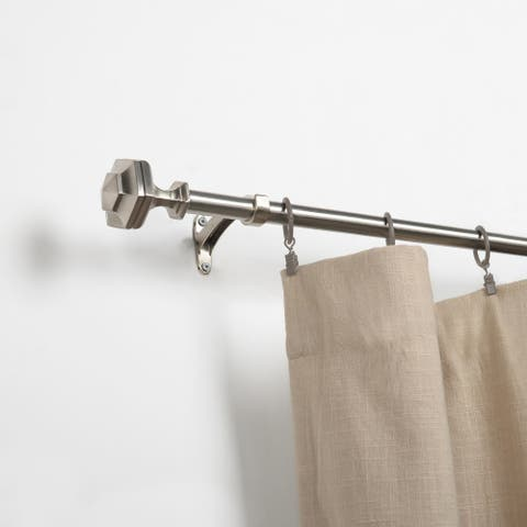 "Adjustable 3/4"" Diameter Satin Silver Curtain Rod by Miranda Haus"