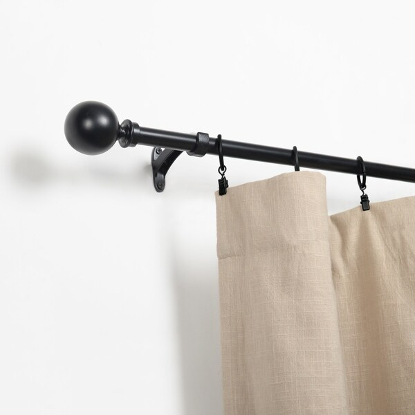 Miranda Haus Nimbus Soft Black Iron Expandable Curtain Rod. Opens flyout.