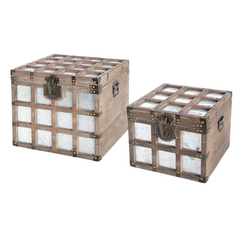 Carbon Loft Mebius Wooden Square Galvanized Metal Lined Storage Trunk