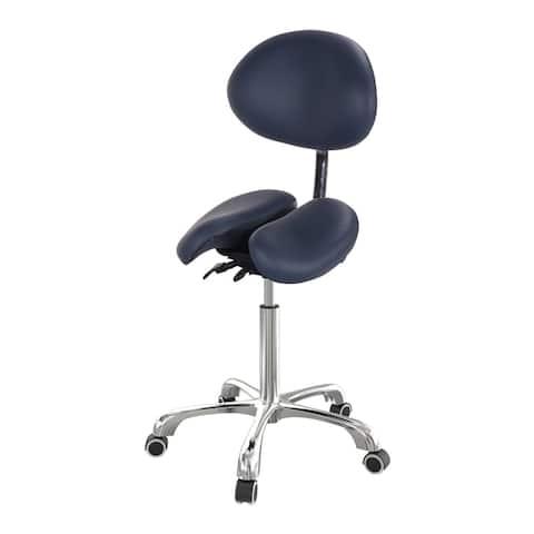 Master Massage Berkeley Ergonomic Split Seat Style Backrest Saddle Stool with Two Tilting option in Royal Blue