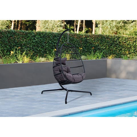 LeisureMod Wicker Folding person Egg Swing Chair in Charcoal - N/A
