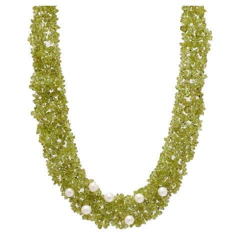 PEARL LUSTRE Genuine Precious Stones Peridot and Freshwater Pearls Necklace in Yellow Gold.
