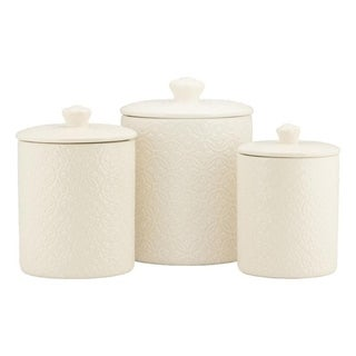 10 Strawberry Street Hampton Embossed 3 Piece Ceramic Canister Set