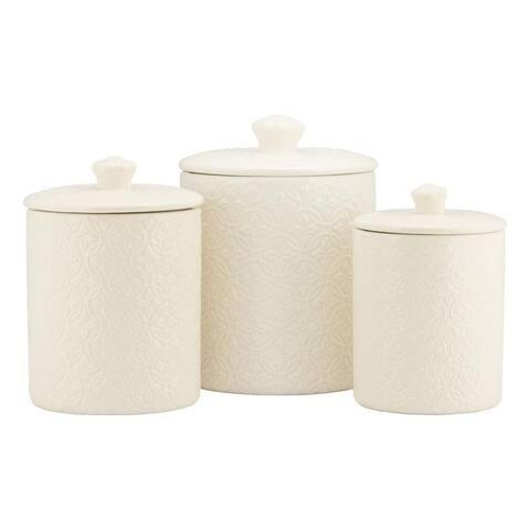 10 Strawberry Street Hampton Embossed 3 Piece Ceramic Canister Set