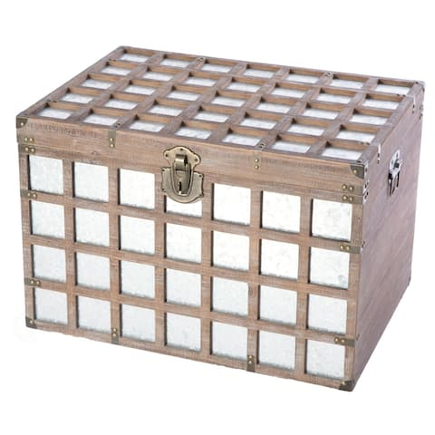 Vintorary Wooden Rectangle Galvanized Metal Lined Storage Trunk, Large