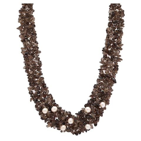 PEARL LUSTRE Genuine Smokey Quartz Precious Stones and Freshwater Pearls Necklace in Yellow Gold.