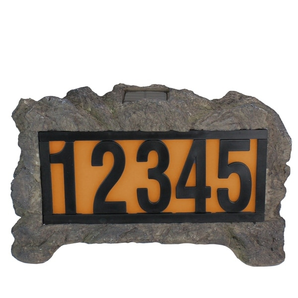Shop Solar Powered Lighted House Number Display Rock