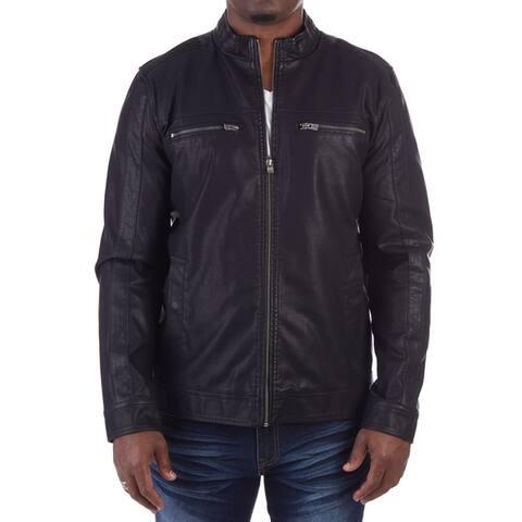 XRAY Mens PU Leather Washed Racer Jacket
