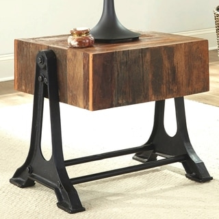 Industrial Design Cast Iron Base Living Room Accent End Table