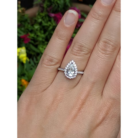 TwoBirch 1.68 CT. Traditional Diamond and Moissanite Pear Shaped Halo Engagement Ring in 10K Gold