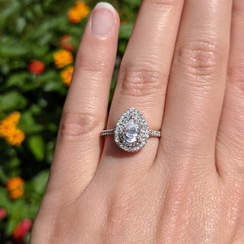 TwoBirch 1.14 CT. Pear Diamond and Moissanite Shaped Double Halo Engagement Ring in 10K Gold