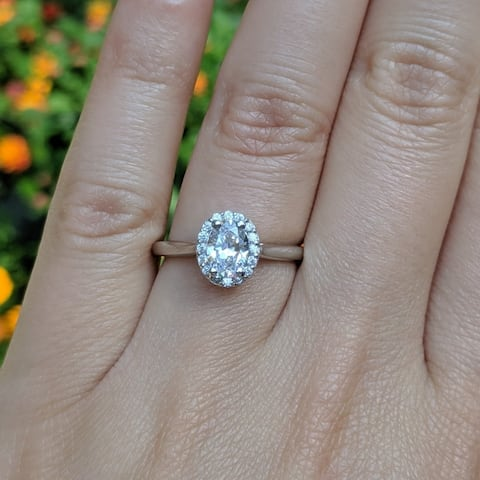 TwoBirch 1.14 CT. Oval Diamond and Moissanite Halo Engagement Ring in 10K Gold