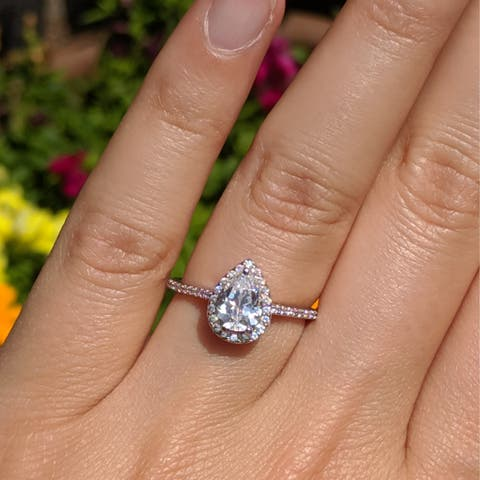 TwoBirch 1.8 CT Classic Diamond & Moissanite Pear Shaped Halo Engagement Ring in 10k Gold