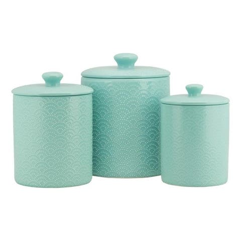 10 Strawberry Street Tide Embossed 3 Piece Ceramic Canister Set