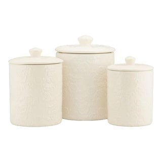 10 Strawberry Street Rose Embossed 3 Piece Ceramic Canister Set, White