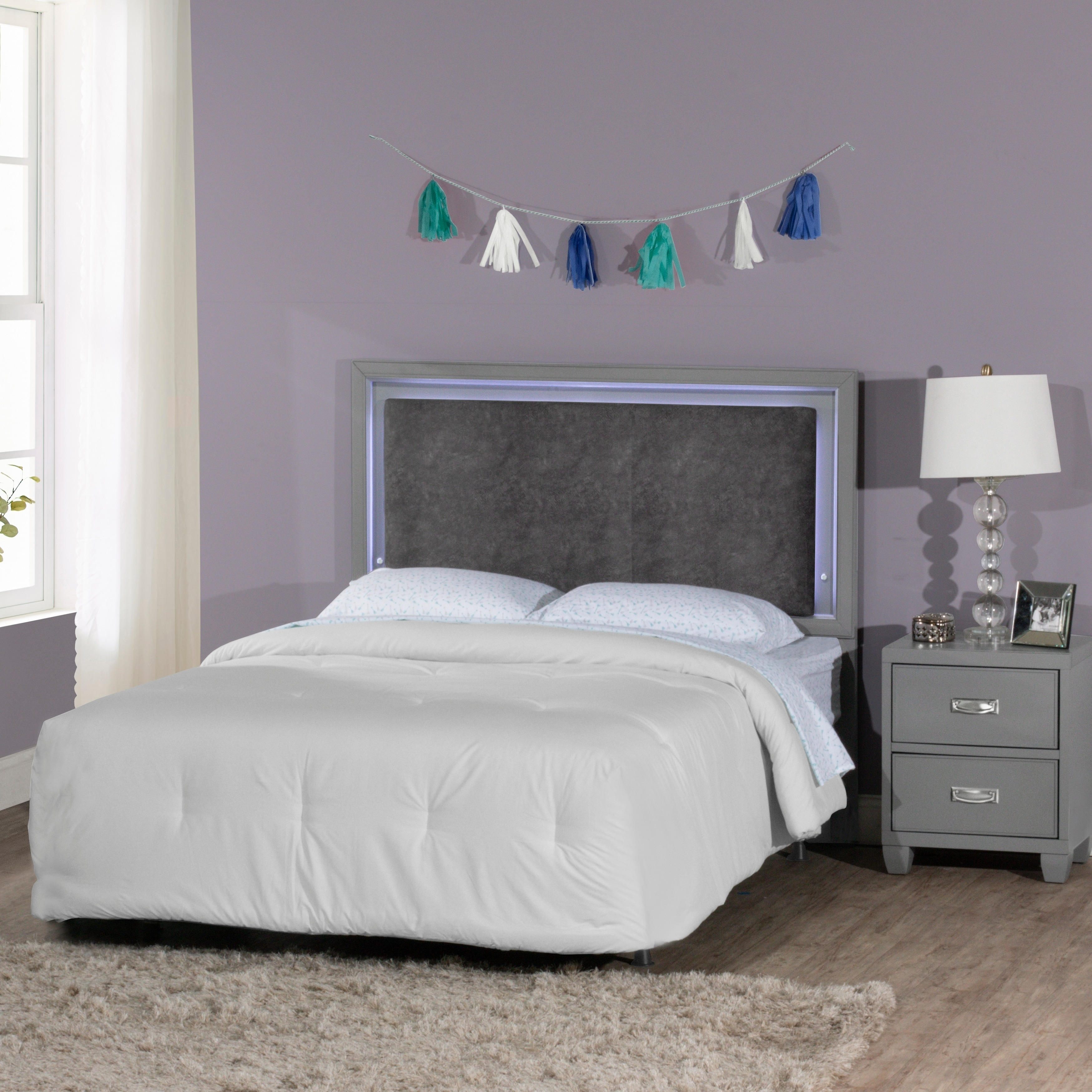 Lyndon Lane Upholstered Panel Led Lighted Headboard And Nightstand Frame Included