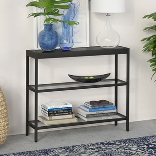 Alexis 3-Shelf Short Console Table in Blackened Bronze