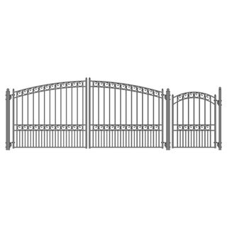 ALEKO Set of  Paris Style Steel Swing Dual Driveway 12 ft with Pedestrian Gate - 12 ft x 6 ft/5 ft x 4 ft