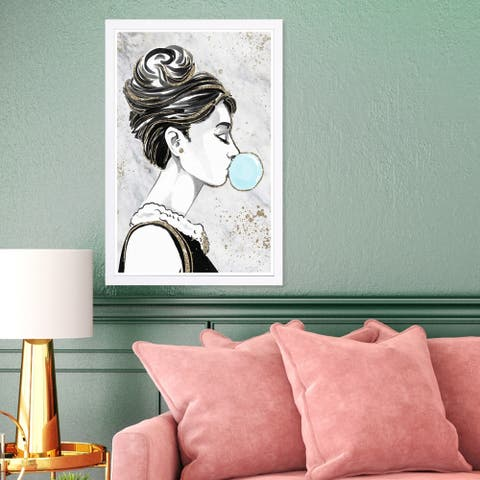 Wynwood Studio 'Bubble Popper Glitter' Fashion and Glam Framed Wall Art Print - Black, White - 13 x 19