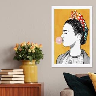 Wynwood Studio 'Latina Bubble Popper' People and Portraits Framed Wall Art Print - Yellow, Black - 13 x 19