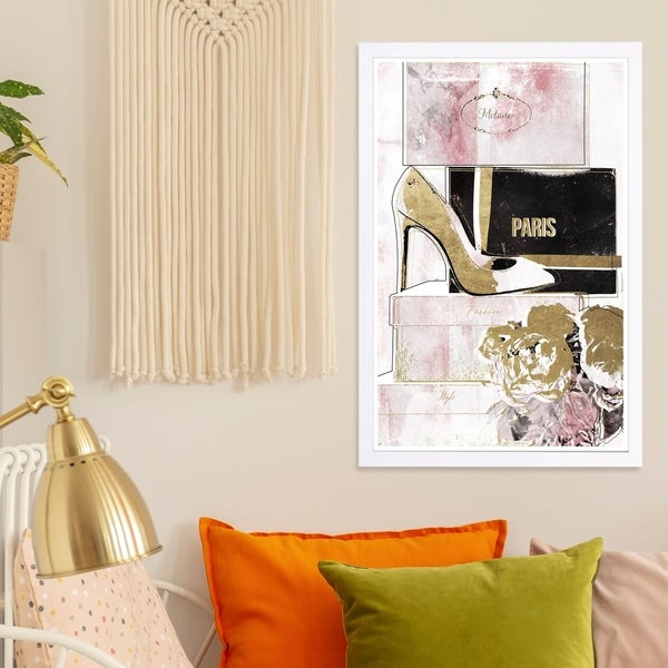 Wynwood Studio 'Stacked Shoes Rose Love' Fashion and Glam Framed Wall Art Print - Pink, Gold - 13 x 19