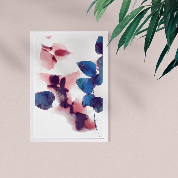 Wynwood Studio 'Like Cyanotype Leaves' Abstract Framed Wall Art Print - Blue, Pink - 13 x 19