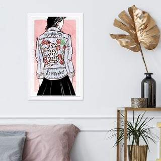Wynwood Studio 'Her Favorite Jacket' Fashion and Glam Framed Wall Art Print - Blue, Pink - 13 x 19