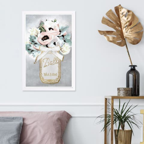 Wynwood Studio 'Mason Jar Mora' Floral and Botanical Framed Wall Art Print - Gray, Pink - 13 x 19