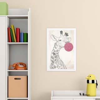 Wynwood Studio 'Glitter BubbleGum Giraffe' Animals Framed Wall Art Print - Pink, Black - 13 x 19