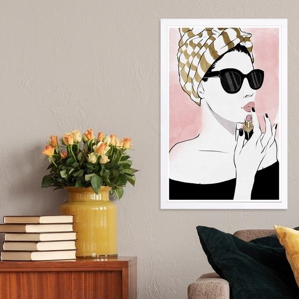 Wynwood Studio 'All Glammed Up Night' Fashion and Glam Framed Wall Art Print - Pink, Gold - 13 x 19