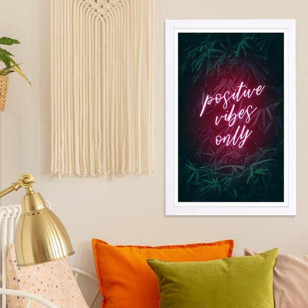 Wynwood Studio 'Positive Vibes Only' Typography and Quotes Framed Wall Art Print - Pink, Green - 13 x 19