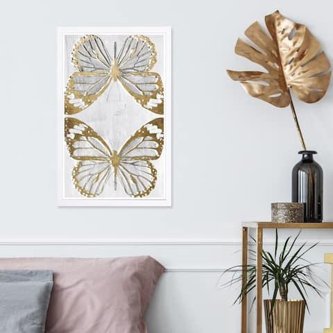 Wynwood Studio 'Golden Butterflies' Animals Framed Wall Art Print - Gray, Gold