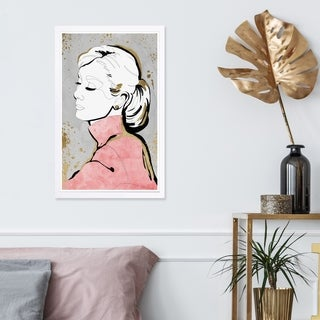 Wynwood Studio 'Contour Icon' Fashion and Glam Framed Wall Art Print - Pink, White - 13 x 19