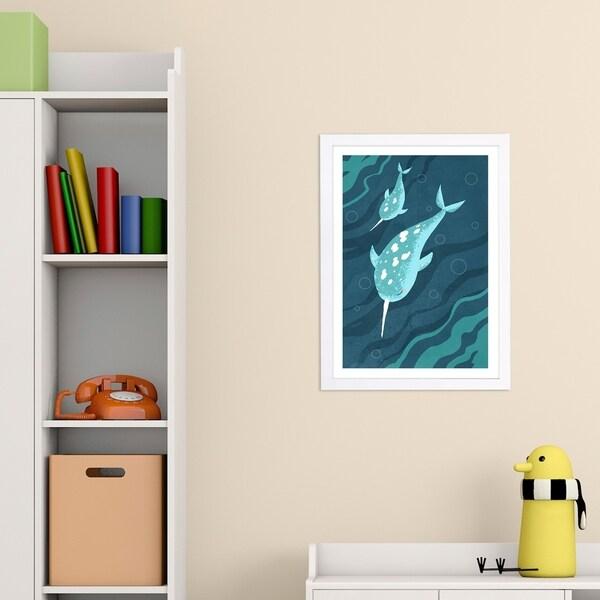 Wynwood Studio 'Narwhals' Animals Framed Wall Art Print - Blue, White - 13 x 19