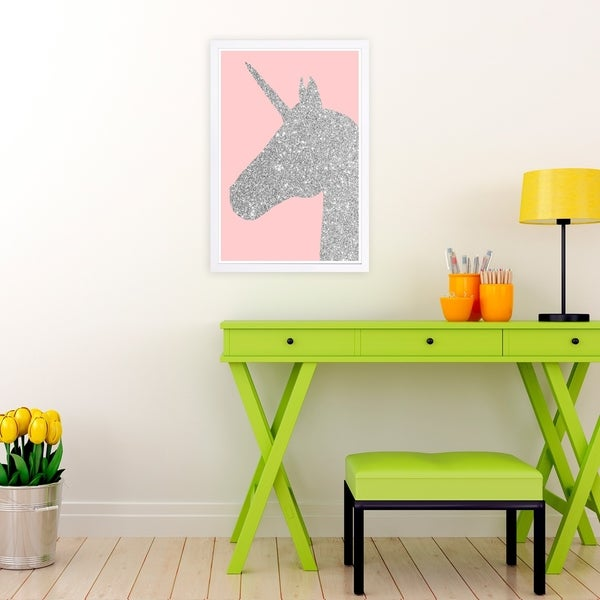 Wynwood Studio 'Glitter Unicorn Pink' Fantasy and Sci-Fi Framed Wall Art Print - Gray, Pink - 13 x 19