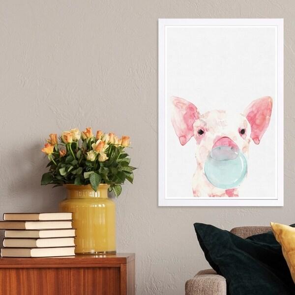 Wynwood Studio 'Piglet Bubblegum' Animals Framed Wall Art Print - Pink, Gray - 13 x 19