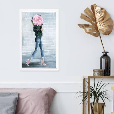 Wynwood Studio 'Walk This City' Fashion and Glam Framed Wall Art Print - Blue, Pink