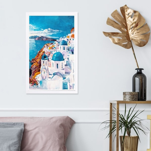 Wynwood Studio 'Beautiful Day in Greece' World and Countries Framed Wall Art Print - White, Blue - 13 x 19